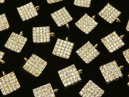 Charm with metal part CZ Square 6 x 6 mm gold color 3 pcs $3.79!