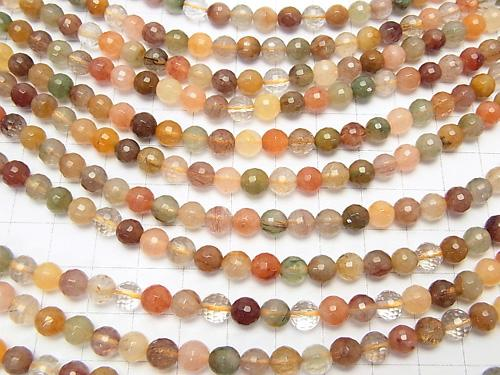 Multicolor Rutilated Quartz AA ++ 128 Faceted Round 6 mm half or 1 strand (aprx.15 inch / 38 cm)