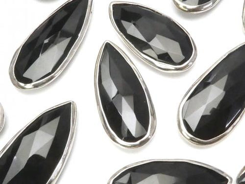 Onyx AAA Silver Color Bezel Setting Pear shape Faceted Briolette 1pc $11.79