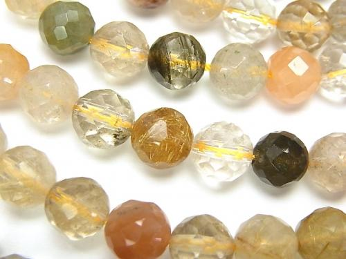 1strand $9.79! Multicolor Rutilated Quartz AA 64 Faceted Round 8 mm 1strand (aprx.15 inch / 37 cm)