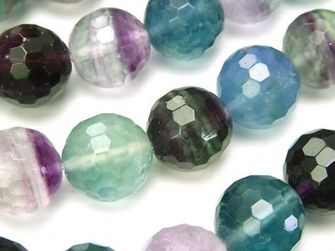 Multicolor Fluorite AA + 128 Faceted Round 14 mm half or 1 strand (aprx.15 inch / 38 cm)