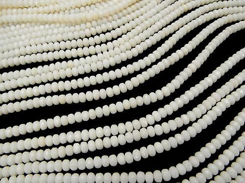 1strand $8.79! White Coral Faceted Button Roundel 4 x 4 x 3 mm 1strand (aprx.15 inch / 38 cm)