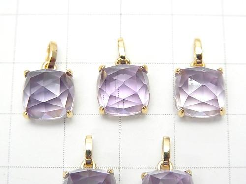 1 pc $49.99! High Quality Pink Amethyst AAA Rose Cut Square Pendant 9 x 9 x 7 mm 18 KGP