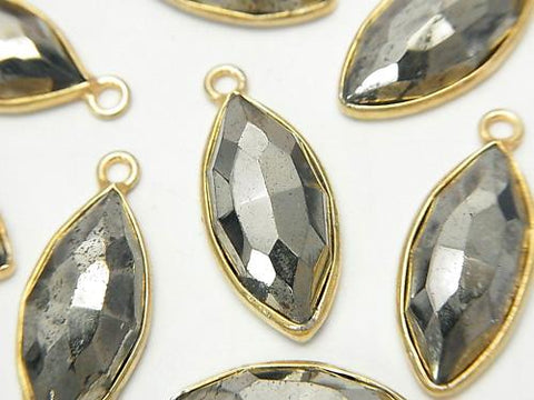 1pc $6.79! Pyrite  Rose Cut  Bezel Set Marquise  18KGP 1pc