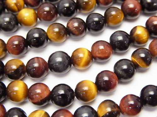 High quality Tiger Eye AAA 3 color mix Round 6 mm half or 1 strand (aprx.15 inch / 38 cm)