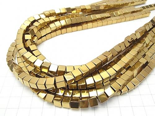 1strand $6.79! Hematite Cube 8 x 8 mm x 8 mm gold coating 1 strand (aprx.15 inch / 36 cm)