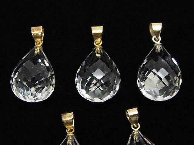 1 pc $11.79! High Quality Crystal AAA Faceted Drop Pendant 18 x 13 x 13 mm 18 KGP