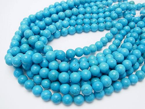 1strand $5.79! Magnesite Turquoise Round 10mm Blue Color 1strand (aprx.15inch / 37cm)