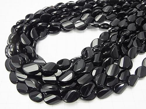Onyx  Twist Faceted Oval 14x10x5mm half or 1strand (aprx.15inch/36cm)
