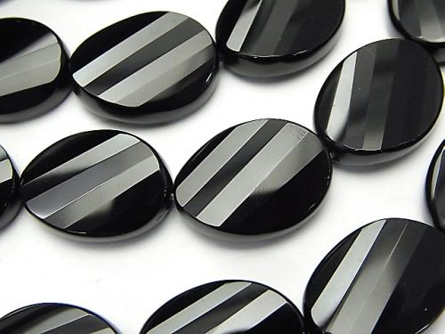 Onyx  Twist Faceted Oval 20x15x7mm half or 1strand (aprx.15inch/36cm)