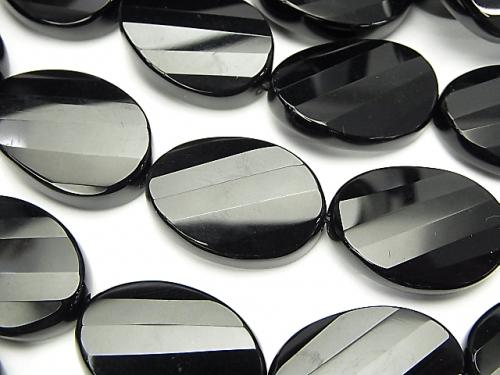 Onyx  Twist Faceted Oval 25x18x7-8 half or 1strand (aprx.14inch/35cm)
