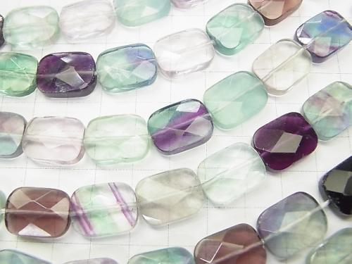 Multicolor Fluorite AA ++ Faceted Rectangle 16 x 12 x 6 mm half or 1 strand (apr x 15 inch / 38 cm)