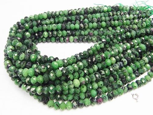 Diamond Cut! Ruby in Zoisite Faceted Button Roundel 8 x 8 x 5 half or 1 strand (aprx.15 inch / 38 cm)