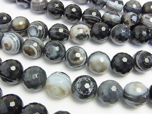 Tibetan Agate 128 Faceted Round 18 mm half or 1 strand (aprx. 14 inch / 35 cm)