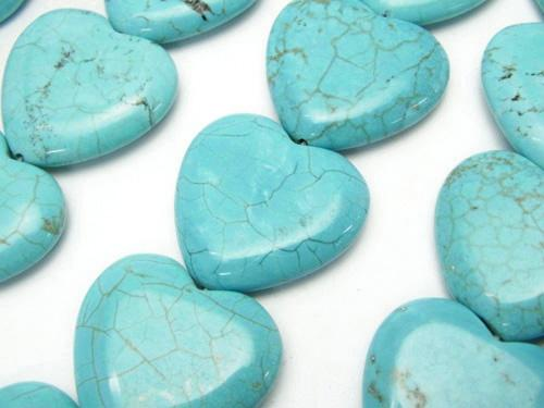 1strand $8.79! Magnesite Turquoise Vertical Hole Heart 24 x 25 x 5 mm 1strand (aprx.13 inch / 33 cm)