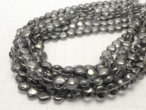 Silver flash crystal heart 10x10x5 half or 1strand (aprx.15inch / 36cm)