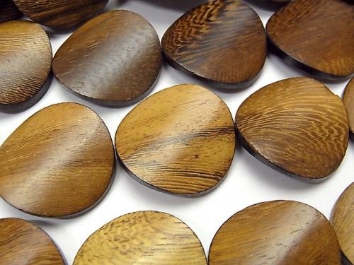 Wood Beads Twist Coin 25x25x5mm 1strand (aprx.15inch/36cm)