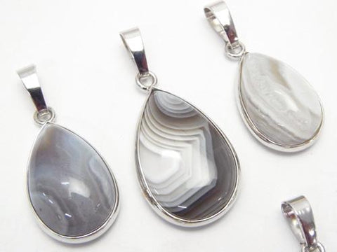 3pcs $11.79! Botswana Agate Pear shape Pendant Silver color 1pc