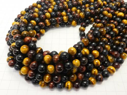 1strand $9.79! Tiger Eye AAA - AA ++ 3 color mix Round 8mm 1strand (aprx.15inch / 36cm)