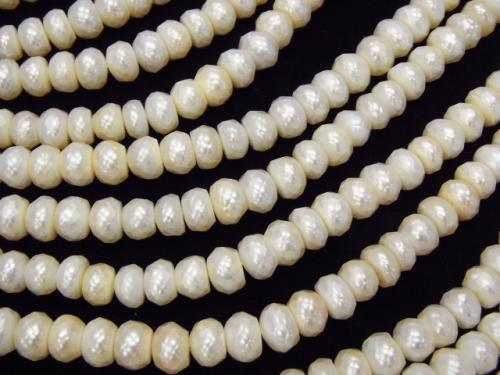 1strand $17.99! Faceted Fresh Water Pearl Roundel 7x7x4 White 1strand (aprx.14inch / 35cm)