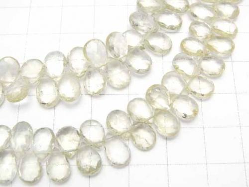 High Quality Green Beryl AAA - Pear shape Faceted Briolette Color gradation 1strand (aprx.7inch / 17cm)