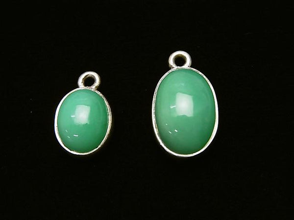 1pc $9.79 Chrysoprase AAA- [Middle Color] Bezel Setting Oval Silver 925 1pc