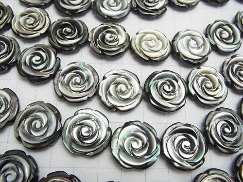 High quality Black Shell (Black-lip Oyster) AAA Roses Carving (Both Side Finish) 20 x 20 x 7 mm 1/4 or 1strand (aprx.15 inch / 36 cm)