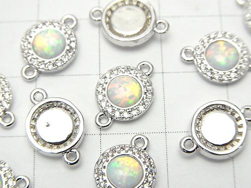 Metal Part Joint Part 13x8x3mm Kyoto Opal & Cubic Zirconia Silver Color 1pc $4.79