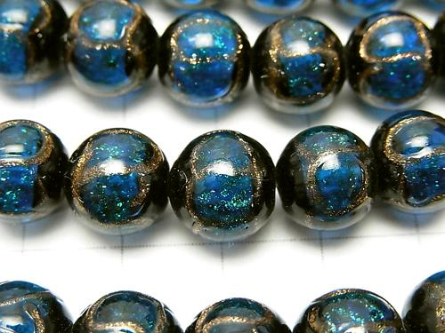 Lampwork Beads Round 10 mm Gold Line Carved [Blue] half or 1 strand (aprx.10 inch / 26 cm)