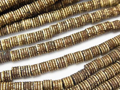 1strand $7.79! Brass wave pattern Tube 4 x 4 x 3 mm Oxidized Finish 1 strand (aprx.27 inch / 68 cm)