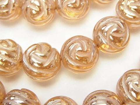 Champagne color quartz Round Rose Cut 14mm 1/4 or 1strand (aprx.13inch / 33cm)
