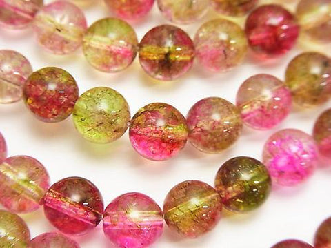 Water melon crystal Round 8mm half or 1strand (aprx.15inch / 38cm)