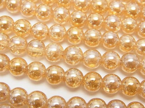 1strand $6.79! Cracked champagne color quartz AAA Round 6mm 1strand (aprx.15inch / 36cm)