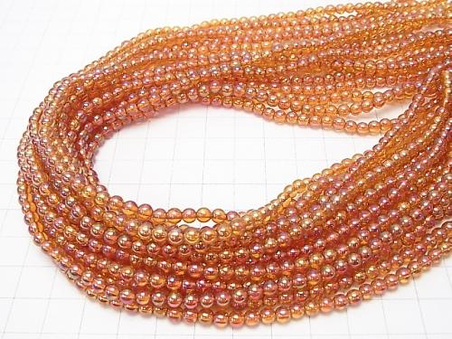 1strand $7.79! Orange Flash Crystal Round 4mm 1strand (aprx.15inch / 38cm)