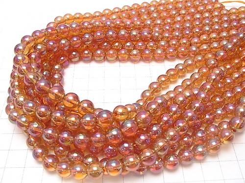 Orange Flash Crystal Round 8mm half or 1strand (aprx.15inch / 38cm)