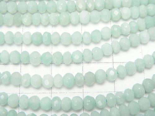 1strand $12.99! Diamond Cut!  Amazonite AAA- Faceted Button Roundel 4x4x3mm 1strand (aprx.15inch/37cm)