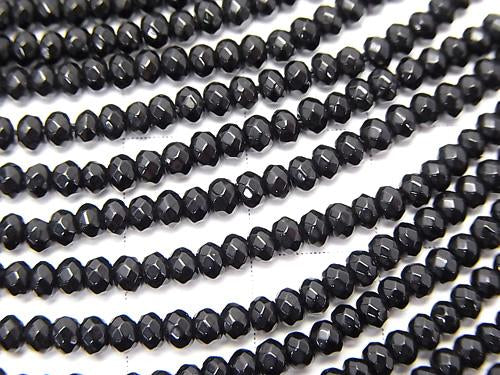 1strand $5.79! Black color Jade Faceted Button Roundel 3x3x2mm 1strand (aprx.14inch / 35cm)