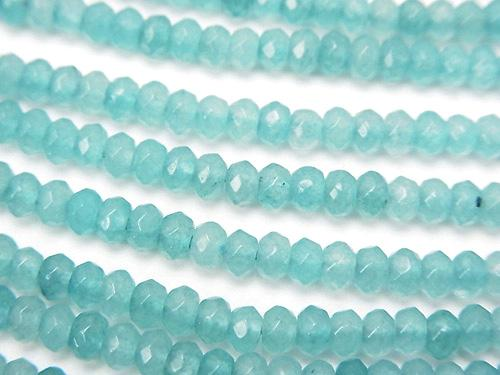 1strand $5.79! Pale Blue Color Jade Faceted Button Roundel 3 x 3 x 2 mm 1 strand (aprx. 14 inch / 34 cm)