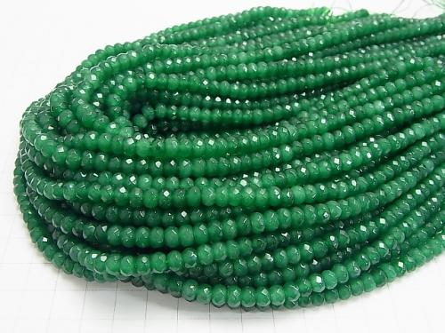 Green Color Jade Faceted Button Roundel 6x6x4mm 1strand (aprx.14inch/34cm)