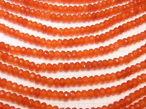 1strand $4.79! Orange Color Jade Faceted Button Roundel 6x6x4mm 1strand (aprx.14inch / 35cm)
