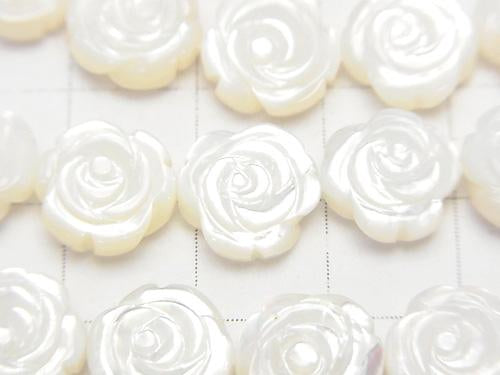High quality White Shell Roses Carving (Both Side Finish) 10 x 10 x 5 mm 1/4 or 1strand (aprx.15 inch / 38 cm)