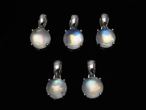 High Quality Rainbow Moon Stone AAA Round Pendant 7mm Silver925 1pc $39.99!