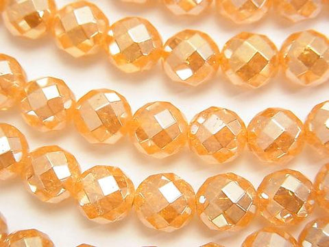 Crack champagne color quartz AAA 64 Faceted Round 8 mm half or 1 strand (aprx.15 inch / 37 cm)