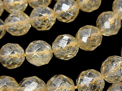 Crack champagne color quartz AAA 64 Faceted Round 10 mm half or 1 strand (aprx.15 inch / 36 cm)