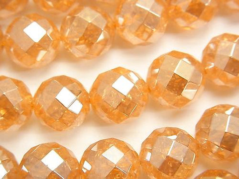 Crack champagne color quartz AAA 64 Faceted Round 12 mm half or 1 strand (aprx.15 inch / 36 cm)