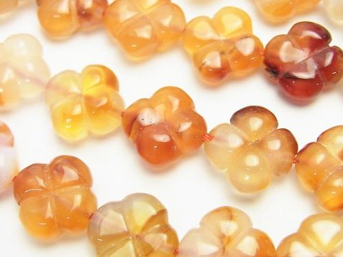 Mix Carnelian AAA Clover 13 x 13 x 6 mm half or 1 strand (aprx.15 inch / 36 cm)