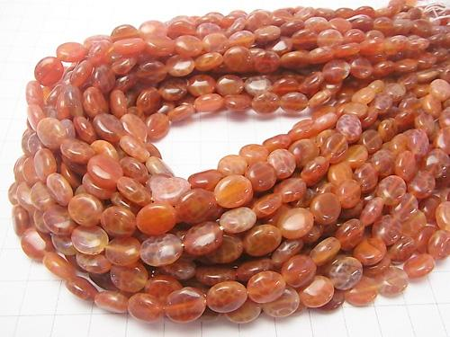 Fire Agate Oval 10 x 8 x 4 mm half or 1 strand (aprx.15 inch / 38 cm)