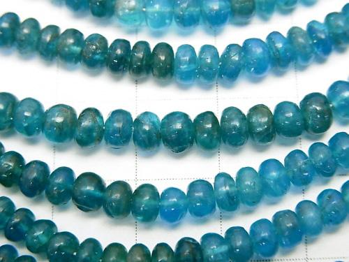 High Quality Neon Blue Apatite AAA - AA ++ Roundel half or 1strand (aprx. 13 inch / 32 cm)