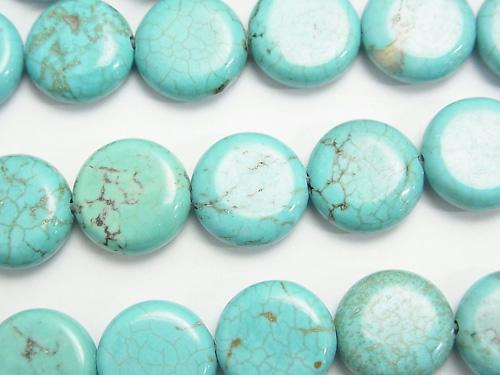 1strand $5.79! Magnesite Turquoise  Coin 12x12x5mm 1strand (aprx.15inch/36cm)