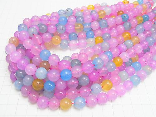 1strand $9.79! Multi Color Chalcedony Round 10mm 1strand (aprx.15inch / 37cm)